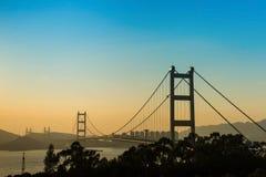 Η γέφυρα Χονγκ Κονγκ, αυτό είναι όμορφη γέφυρα Tsing μΑ στο Χονγκ Κονγκ Στοκ Φωτογραφία