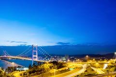 Η γέφυρα Χονγκ Κονγκ, αυτό είναι όμορφη γέφυρα Tsing μΑ στο Χονγκ Κονγκ Στοκ Φωτογραφίες