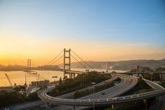 Η γέφυρα Χονγκ Κονγκ, αυτό είναι όμορφη γέφυρα Tsing μΑ στο Χονγκ Κονγκ Στοκ Εικόνες