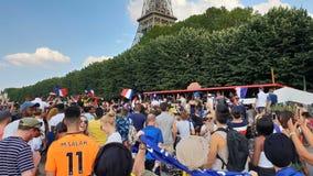 Η Γαλλία γιορτάζει το Παγκόσμιο Κύπελλο το 2018 κερδίζει στοκ εικόνα