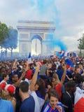 Η Γαλλία γιορτάζει το Παγκόσμιο Κύπελλο το 2018 κερδίζει στοκ εικόνες