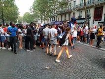 Η Γαλλία γιορτάζει το Παγκόσμιο Κύπελλο το 2018 κερδίζει στοκ φωτογραφία