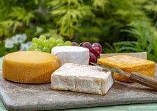 Η γαλλική συλλογή τυριών, κίτρινο Riche de Saveurs, το πλακάκι Vieux και τα τυριά LE peche des bons peres εξυπηρέτησαν στο μαρμάρ στοκ εικόνες με δικαίωμα ελεύθερης χρήσης