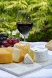 Η γαλλική συλλογή τυριών, κίτρινο Riche de Saveurs, το πλακάκι Vieux και τα τυριά LE peche des bons peres εξυπηρέτησαν με το γυαλ στοκ εικόνα με δικαίωμα ελεύθερης χρήσης