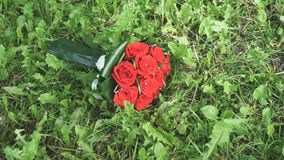Η γαμήλια ανθοδέσμη των τριαντάφυλλων βρίσκεται στη χλόη απόθεμα βίντεο