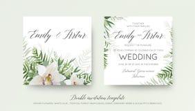 Η γαμήλια διπλή πρόσκληση, προσκαλεί το σχέδιο καρτών με το κομψό λευκό ελεύθερη απεικόνιση δικαιώματος