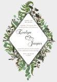 Η γαμήλια κάθετη floral πρόσκληση, προσκαλεί την κάρτα Διανυσματική καθορισμένη πράσινη δασική φτέρη watercolor, χορτάρια, brunia ελεύθερη απεικόνιση δικαιώματος