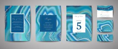 Η γαμήλια μόδα geode ή το μαρμάρινο πρότυπο, καλλιτεχνικές καλύψεις σχεδιάζει, ζωηρόχρωμη σύσταση, ρεαλιστικό καθιερώνον τη μόδα  ελεύθερη απεικόνιση δικαιώματος