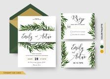Η γαμήλια πρόσκληση εκτός από την ημερομηνία, rsvp προσκαλεί το σχέδιο καρτών: Πεύκο διανυσματική απεικόνιση