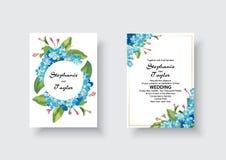 Η γαμήλια πρόσκληση, floral προσκαλεί σας ευχαριστεί, rsvp σύγχρονο σχέδιο καρτών: πράσινος τροπικός ευκάλυπτος πρασινάδων φύλλων διανυσματική απεικόνιση