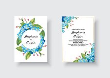 Η γαμήλια πρόσκληση, floral προσκαλεί σας ευχαριστεί, rsvp σύγχρονο σχέδιο καρτών: πράσινος τροπικός ευκάλυπτος πρασινάδων φύλλων απεικόνιση αποθεμάτων
