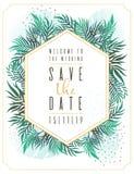 Η γαμήλια πρόσκληση, floral προσκαλεί σας ευχαριστεί, rsvp σύγχρονο σχέδιο καρτών: ο πράσινος τροπικός ευκάλυπτος πρασινάδων φύλλ απεικόνιση αποθεμάτων