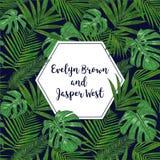 Η γαμήλια πρόσκληση, floral προσκαλεί το σχέδιο καρτών με το πράσινο tropica διανυσματική απεικόνιση
