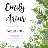 Η γαμήλια πρόσκληση, floral προσκαλεί το σχέδιο καρτών με την πράσινη φτέρη LE Στοκ Εικόνα