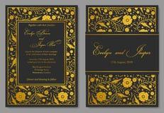 Η γαμήλια πρόσκληση, floral προσκαλεί το σχέδιο καρτών με το χρυσό φύλλο αλουμινίου β Στοκ φωτογραφία με δικαίωμα ελεύθερης χρήσης