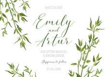 Η γαμήλια floral πρόσκληση, προσκαλεί, εκτός από το πρότυπο ημερομηνίας Vecto διανυσματική απεικόνιση