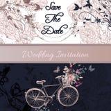Η γαμήλια πρόσκληση ή σώζει την κάρτα ημερομηνίας με το ποδήλατο και τα τριαντάφυλλα Στοκ Εικόνες