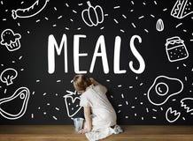 Η γαστρονομική κουζίνα καλοφαγάδων τρώει την έννοια γευμάτων Στοκ Φωτογραφίες