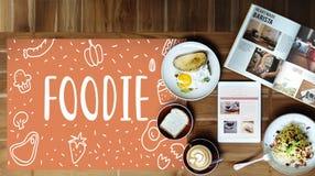 Η γαστρονομική κουζίνα καλοφαγάδων τρώει την έννοια γευμάτων Στοκ Εικόνες