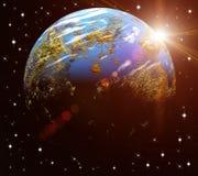 Η γη μας στον κόσμο και το φωτεινό ήλιο Στοιχεία Στοκ Εικόνες