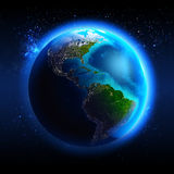 Η γη που βλέπει από το διάστημα Στοκ εικόνες με δικαίωμα ελεύθερης χρήσης