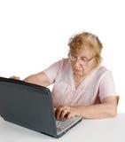 Η γιαγιά στα γυαλιά εξετάζει το σημειωματάριο Στοκ εικόνα με δικαίωμα ελεύθερης χρήσης