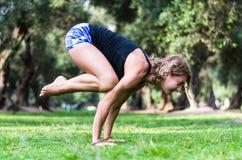 Η γιόγκα στο πάρκο, γυναίκα Μεσαίωνα που κάνει το γερανό άσκησης bakasana θέτει στοκ εικόνα