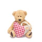 Η γοητεία teddy αντέχει με την καρδιά υφάσματος Στοκ εικόνες με δικαίωμα ελεύθερης χρήσης