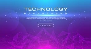 Η γραμμή εμβλημάτων τεχνολογίας επηρεάζει την τεχνολογία, ρόδινη μπλε έννοια υποβάθρου με τα ελαφριά αποτελέσματα διανυσματική απεικόνιση