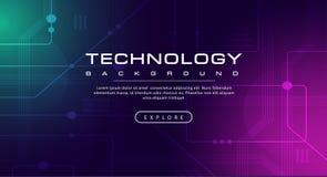 Η γραμμή εμβλημάτων τεχνολογίας επηρεάζει την τεχνολογία, ρόδινη πράσινη μπλε έννοια υποβάθρου με τα ελαφριά αποτελέσματα ελεύθερη απεικόνιση δικαιώματος