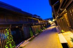 Η γραμμή σύνδεσε την ξύλινη παλαιά πόλη Takayama σπιτιών Στοκ εικόνα με δικαίωμα ελεύθερης χρήσης