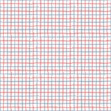 Η γραμμή σύρει gingham το κόκκινο, μπλε, άσπρο άνευ ραφής σχέδιο επανάληψης Τ Στοκ Εικόνες