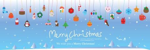 Η γραμμή χρώματος ημέρας των Χριστουγέννων κρεμά το έμβλημα στοιχείων ελεύθερη απεικόνιση δικαιώματος