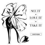 Η γραπτή μόδα υψηλή βάζει τακούνια στο έμβλημα promo παπουτσιών, πρότυπο Ιστού αγγελιών μέσων on-line αγορών κοινωνικό με τα όμορ Στοκ Φωτογραφία