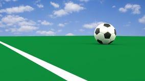 Η γραπτή σφαίρα ποδοσφαίρου διασχίζει τη γραμμή τέρματος, τρισδιάστατη απόδοση απόθεμα βίντεο