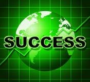 Η γραφική παράσταση επιτυχίας σημαίνει το ψήφισμα και τη νίκη νικητών απεικόνιση αποθεμάτων