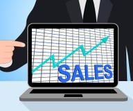 Η γραφική παράσταση διαγραμμάτων πωλήσεων επιδεικνύει το αυξανόμενο εμπόριο κερδών Στοκ εικόνα με δικαίωμα ελεύθερης χρήσης