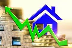 Η γραφική παράσταση της αύξησης και ένα σύμβολο της ακίνητης περιουσίας σε ένα υπόβαθρο των χρημάτων Στοκ Εικόνα