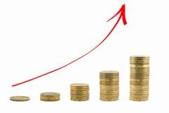 Η γραφική παράσταση της αύξησης των χρημάτων κόκκινο βελών επάνω Στοκ φωτογραφία με δικαίωμα ελεύθερης χρήσης
