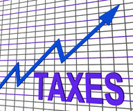 Η γραφική παράσταση φορολογικών διαγραμμάτων παρουσιάζει τον αυξανόμενο φόρο ή φορολογία Στοκ φωτογραφίες με δικαίωμα ελεύθερης χρήσης
