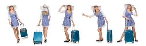 Η γυναίκα έτοιμη για το θερινό ταξίδι που απομονώνεται στο λευκό Στοκ Εικόνες