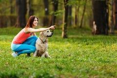 Η γυναίκα δίνει την εντολή στο σκυλί στοκ φωτογραφία