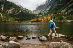 Η γυναίκα αισθάνεται την ελευθερία και απολαμβάνει τη χρυσή φύση φθινοπώρου στο βουνό στοκ εικόνες με δικαίωμα ελεύθερης χρήσης