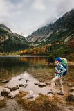 Η γυναίκα αισθάνεται την ελευθερία και απολαμβάνει τη χρυσή φύση φθινοπώρου στο βουνό στοκ εικόνα