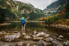 Η γυναίκα αισθάνεται την ελευθερία και απολαμβάνει τη χρυσή φύση φθινοπώρου στο βουνό στοκ φωτογραφία