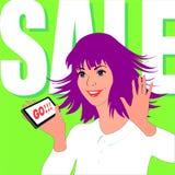 Η γυναίκα απολαμβάνει την πώληση Στοκ φωτογραφία με δικαίωμα ελεύθερης χρήσης