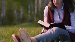 Η γυναίκα διαβάζει ένα βιβλίο στο πάρκο απόθεμα βίντεο