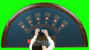 Η γυναίκα εμπόρων χαρτοπαικτικών λεσχών μεταθέτει τις κάρτες πόκερ πράσινη οθόνη φιλμ μικρού μήκους