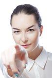 Η γυναίκα εμφανίζει δάχτυλο Στοκ Φωτογραφίες