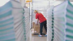 Η γυναίκα εργαζόμενος βάζει τα τυπωμένα περιοδικά σε ένα κιβώτιο μέσω των σωρών εγγράφου στοκ φωτογραφίες με δικαίωμα ελεύθερης χρήσης